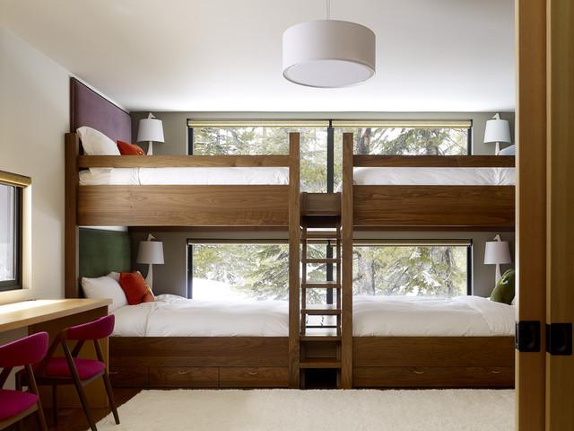 70平米美式儿童 卧室高低 床背景墙装修效果图
