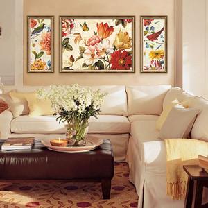 三室一厅中式客厅沙发背景墙装饰画装修效果图