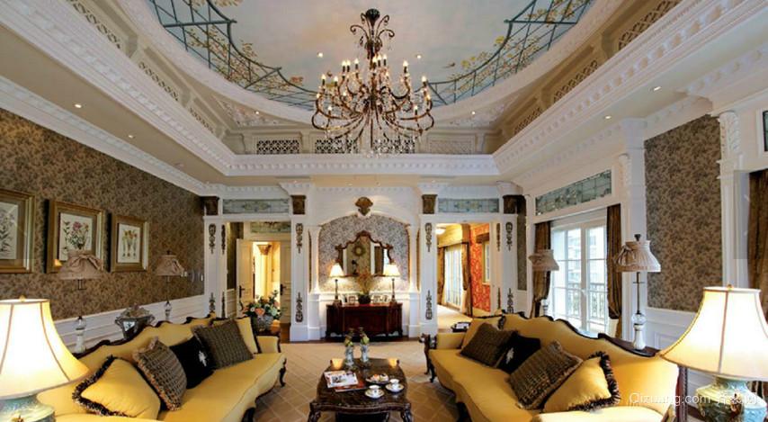 135㎡法式风格客厅吊顶装修效果图