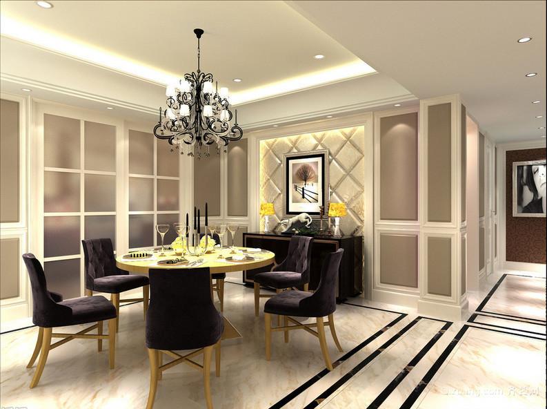 大户型欧式餐厅实木餐桌背景墙装修效果图