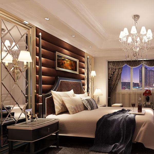别墅型 欧式卧室软包床头背景 墙装修效果图 齐