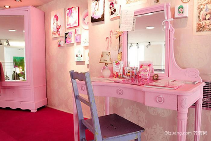 超梦幻的粉色系列梳妆台