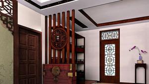 120㎡新中式风格玄关鞋柜设计装修效果图