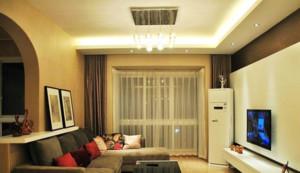 80平米现代简约长形客厅装修效果图