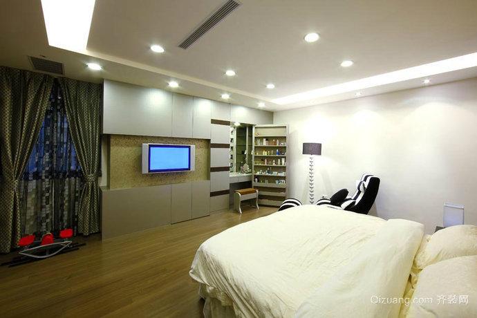 70平米时尚简约卧室梳妆台背景墙装修效果图