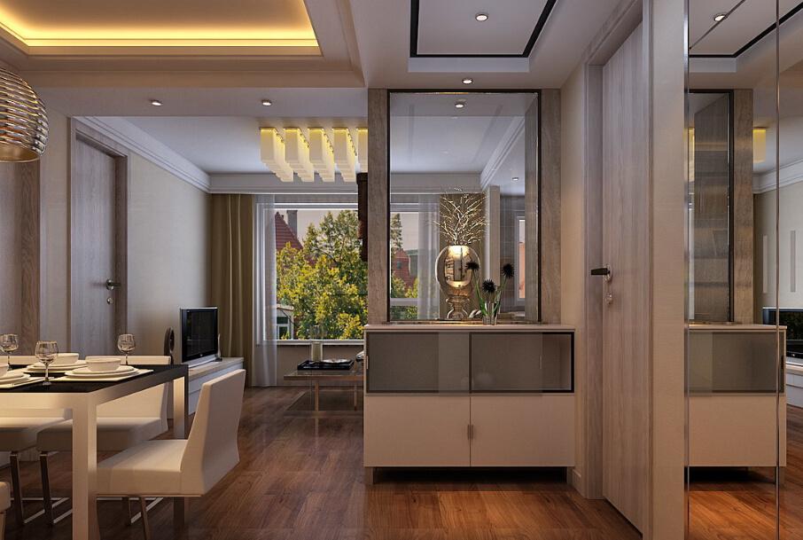 120平方三室客厅玄关置物柜装修效果图