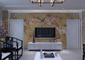 大户型简约中式客厅装修效果图
