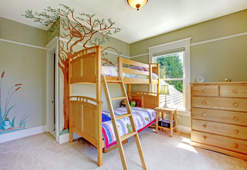 70平米美式儿童卧室 高低床背景 墙 装修效果图