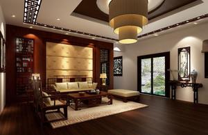 140㎡中式风格客厅吊顶电视背景墙装修效果图