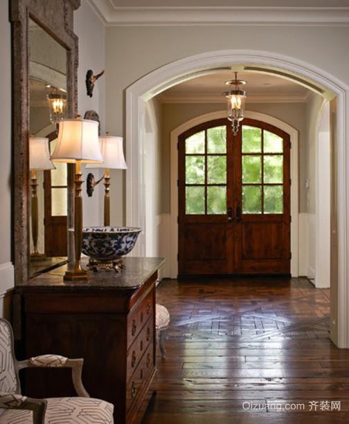大中户型美式古典风格玄关鞋柜设计装修效果图