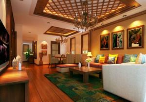 128㎡东南亚风格客厅吊顶电视背景墙装修效果图