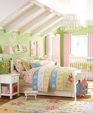 小清新韩式一居女生卧室设计效果图
