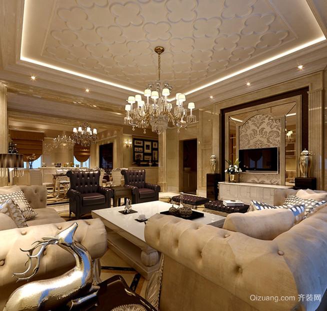 三居室新古典风格客厅吊顶电视背景墙装修效果图