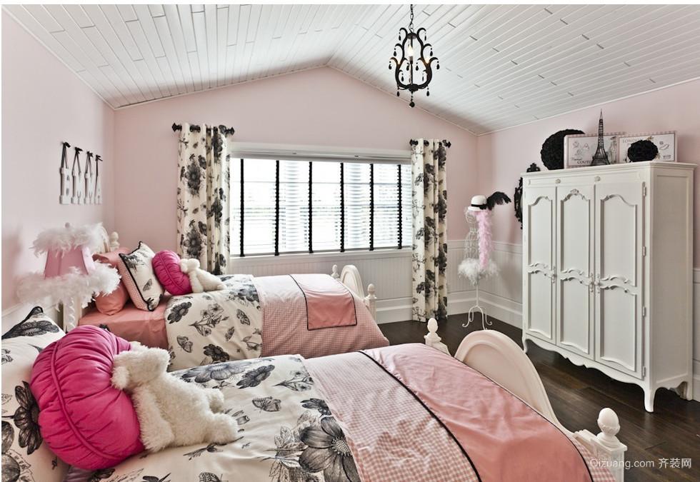 双胞胎卧室飘窗窗帘装修效果图