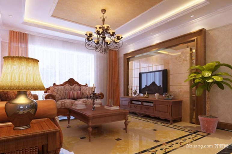 三室一厅美式风格客厅吊顶电视背景墙装修效果图