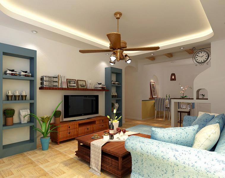 90㎡地中海风格客厅吊顶电视背景墙装修效果图