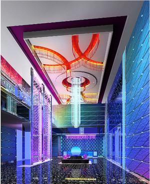 ktv室内艺术玻璃装修设计效果图