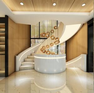 豪华型欧式别墅客厅实木旋转楼梯装修效果图
