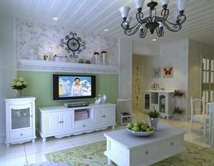 110平米韩式风格客厅吊顶电视背景墙装修效果图