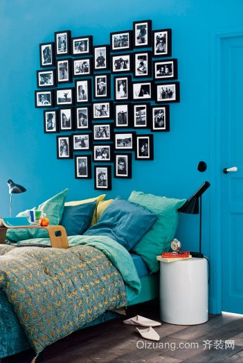 卧室心形照片墙效果图