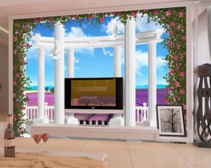 70平米欧式3D客厅墙壁装修效果图