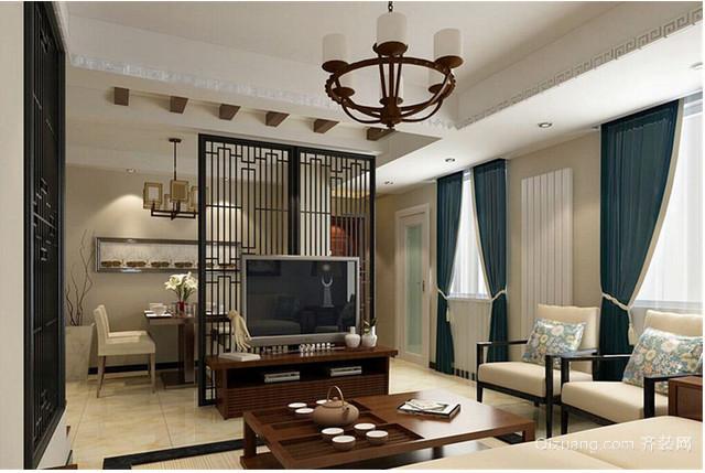 中式 客厅窗帘效果图