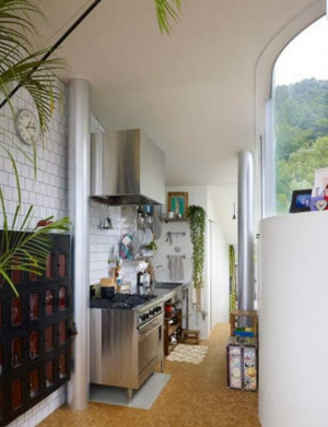 全新阳台开放式厨房装修效果图
