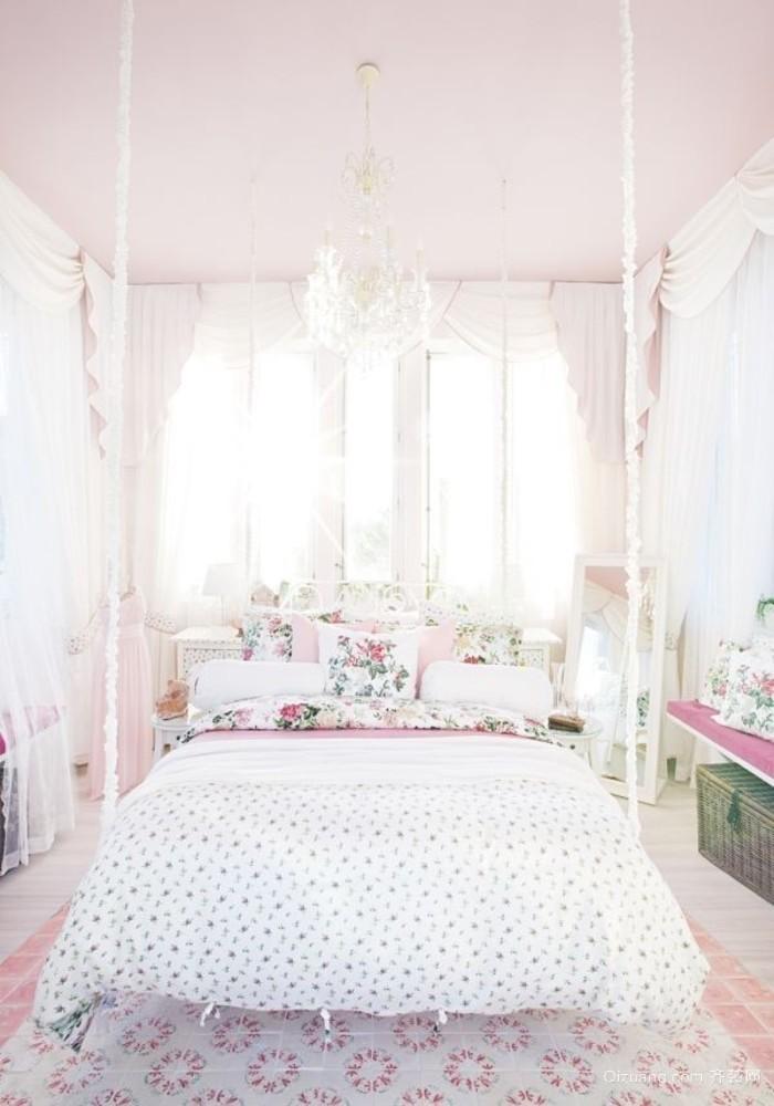 唯美宫廷田园风之女生卧室床