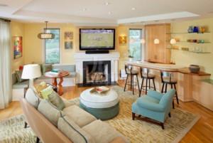 60平米法式客厅电视背景墙装修效果图