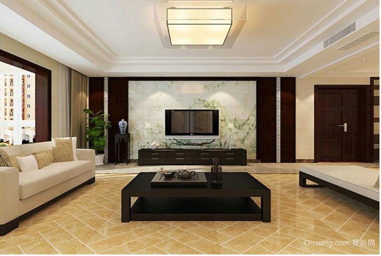 三室两厅大户型客厅影视墙装修效果图