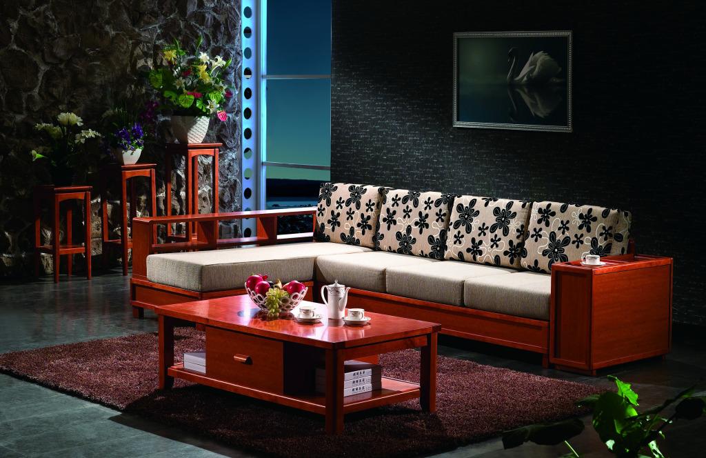 小户型宜家中式客厅实木沙发背景墙装修效果图