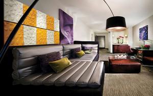 现代简约风格客厅魔块背景墙装修效果图