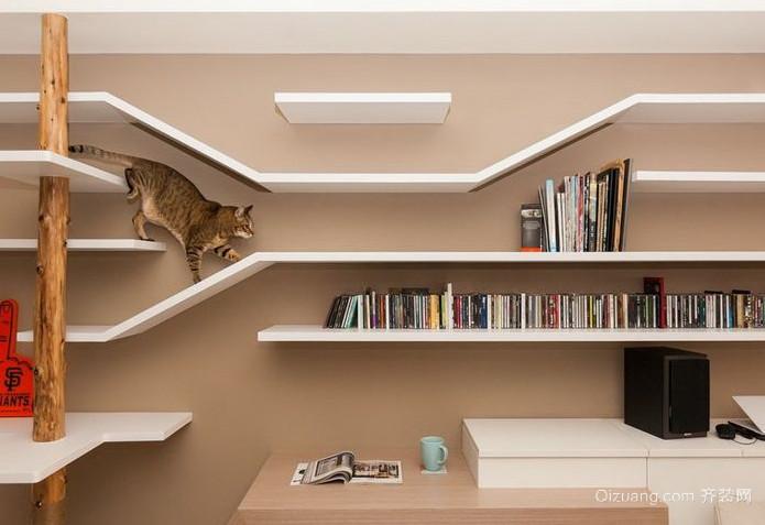 70平米现代简约客厅创意层板装修效果图