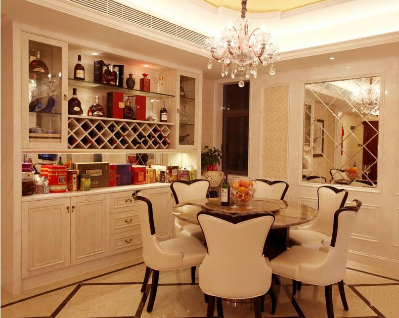 120平米大户型欧式餐厅酒柜装修效果图