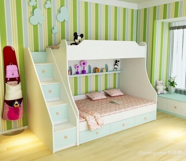 70平米美式儿童卧室高低床背景墙装修效果图