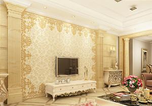 三室二厅欧式罗马柱客厅电视背景墙装修效果图