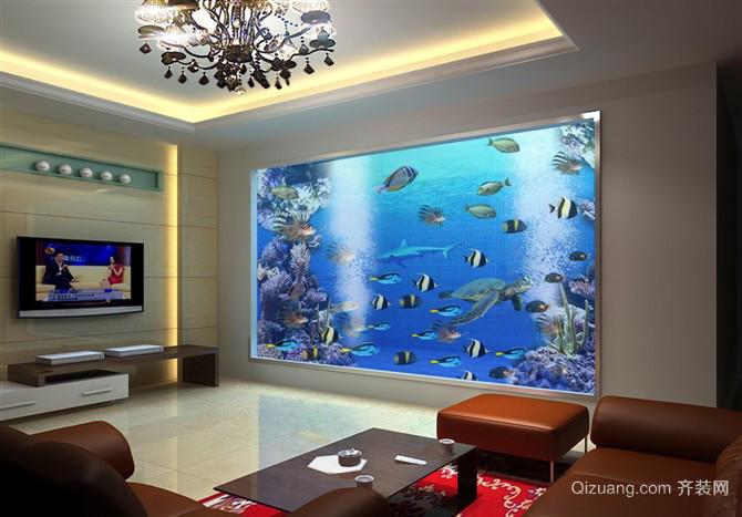 120平米大户型客厅鱼缸造景背景图装修效果图