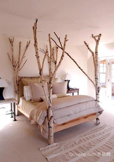 田园风格卧室背景墙装修图片