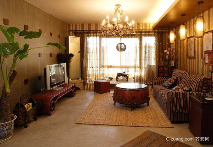 大气优雅的东南亚风格客厅装修效果图