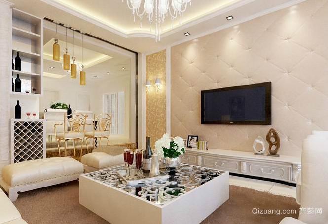 欧式精美客厅电视墙装修效果图
