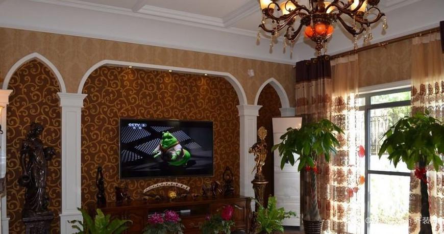 120㎡客厅电视背景墙造型装修效果图