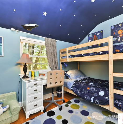 三室两厅两卫儿童房高低床装修效果图