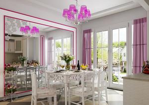 110㎡温馨雅致韩式风格餐厅吊顶背景墙装修效果图