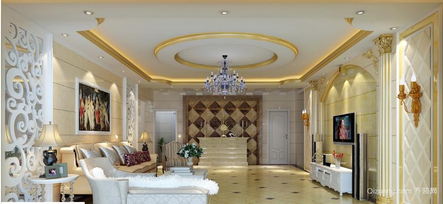 欧式风格大客厅吊顶装修效果图