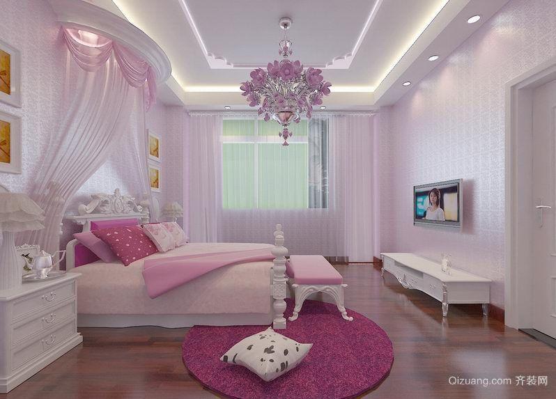 90平米现代时尚婚房卧室背景墙装修效果图