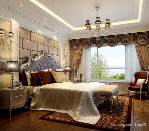 家庭卧室床头软包背景墙装修设计效果图