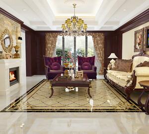 别墅新古典欧式客厅地砖拼花背景墙装修效果图