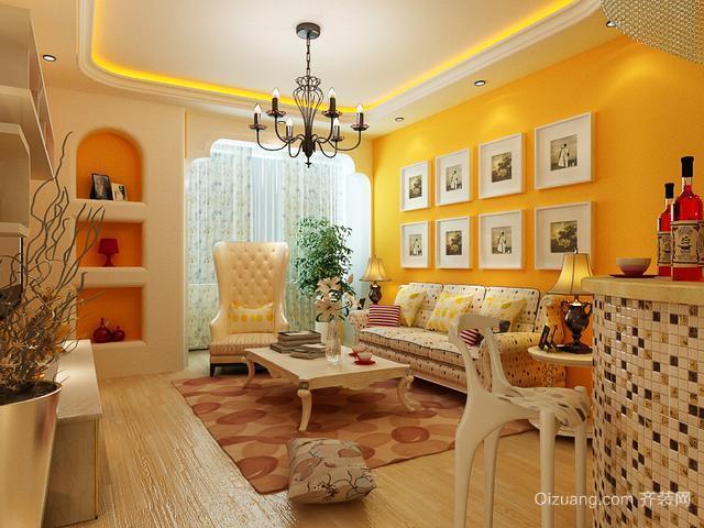 女生公寓韩式客厅背景墙装修效果图