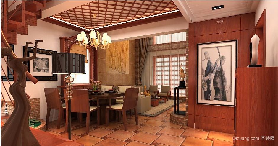 东南亚古典复式楼装修效果图