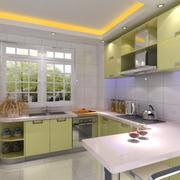 开放式厨房绿色橱柜